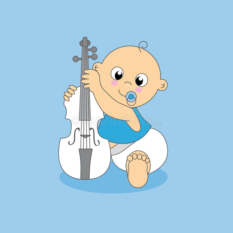 Baby boy. violin royalty free illustration