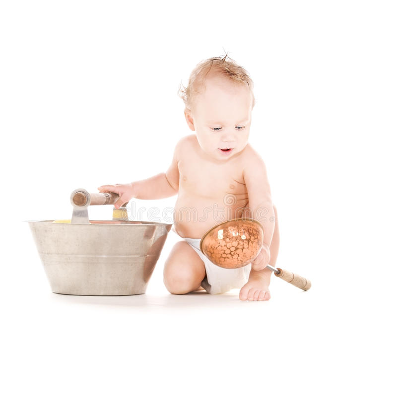 Baby Boy With Wash-tub And Scoop Stock Photo - Image of childcare ...