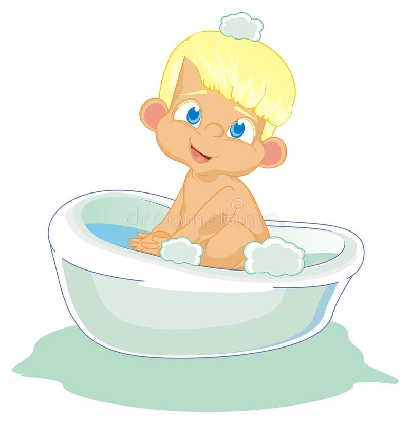 Baby boy and washing day. Funny naked baby boy sit on bath and look at you stock illustration