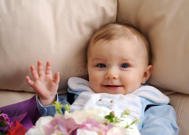 Baby Boy Waving stock photography