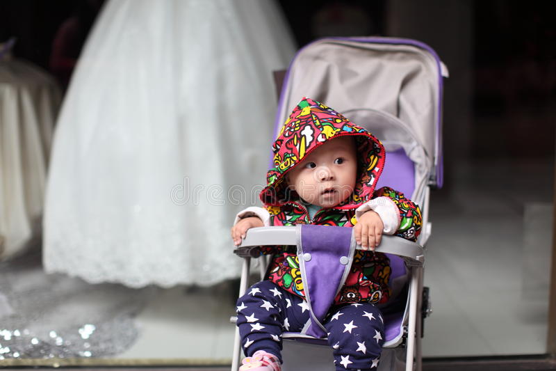 Baby boy before wedding veil stock photo
