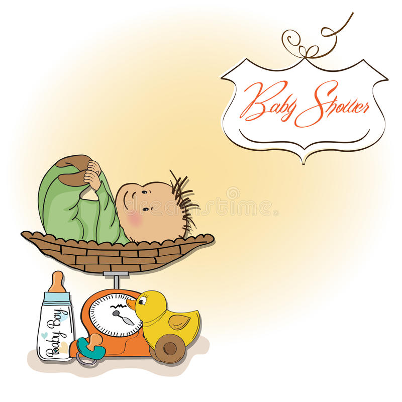 Download Baby Boy Weighed On The Scale Stock Vector - Image: 24816751