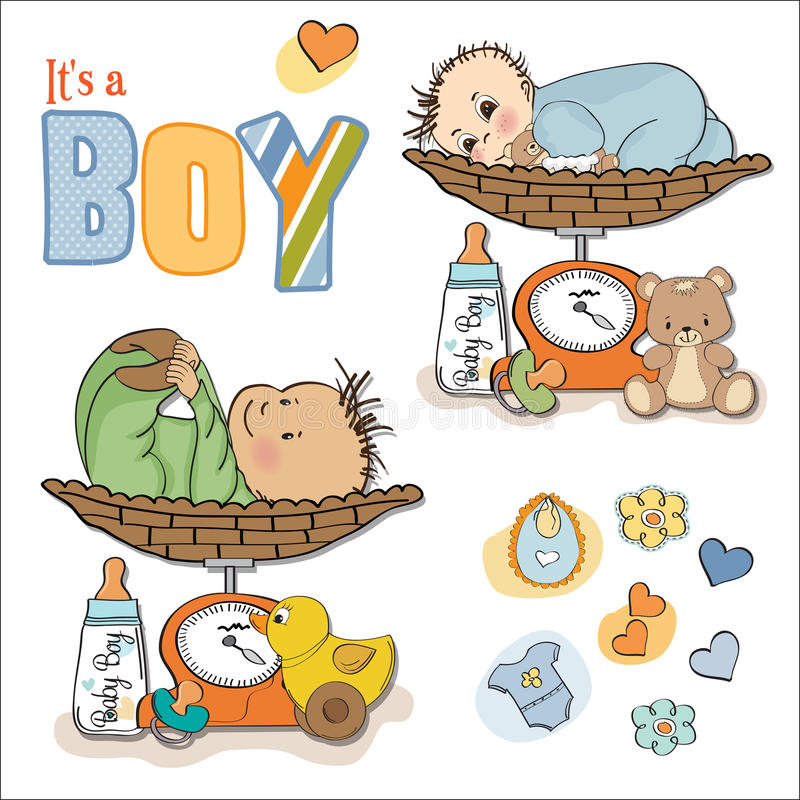 Download Baby Boy Weighed On The Scale, Items Set Stock Illustration - Image: 24938518