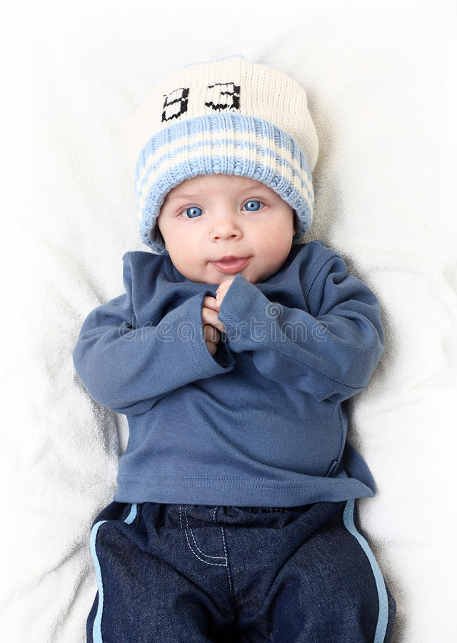 Download Baby boy on white blanket stock photo. Image of adorable - 23529878