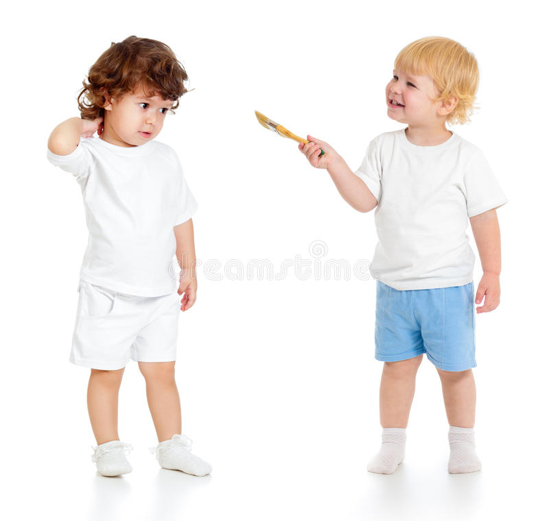 Free Baby Boy With Paint Brush And Girl Standing Full Length Isolated Royalty Free Stock Photography - 34128727