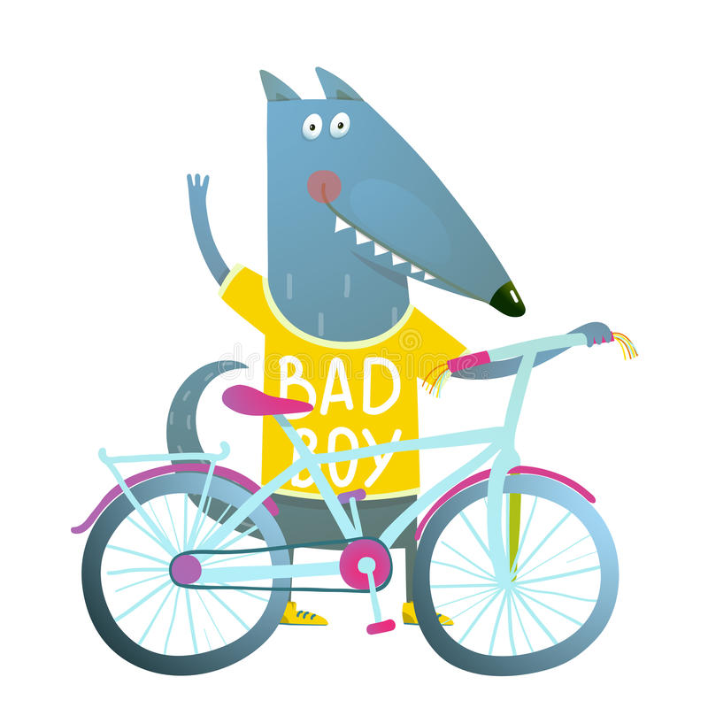 Baby Boy Wolf or Dog Character Greeting with Bicycle cute sport cartoon for kids stock illustration