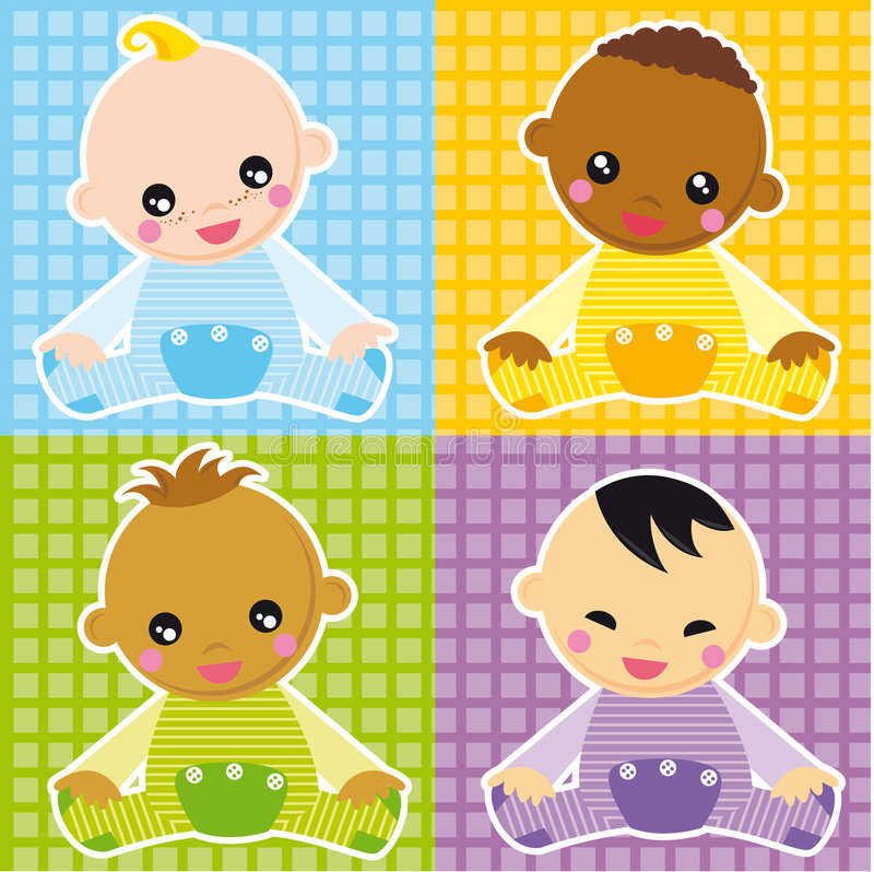 Baby boys. Illustration of four different races boys