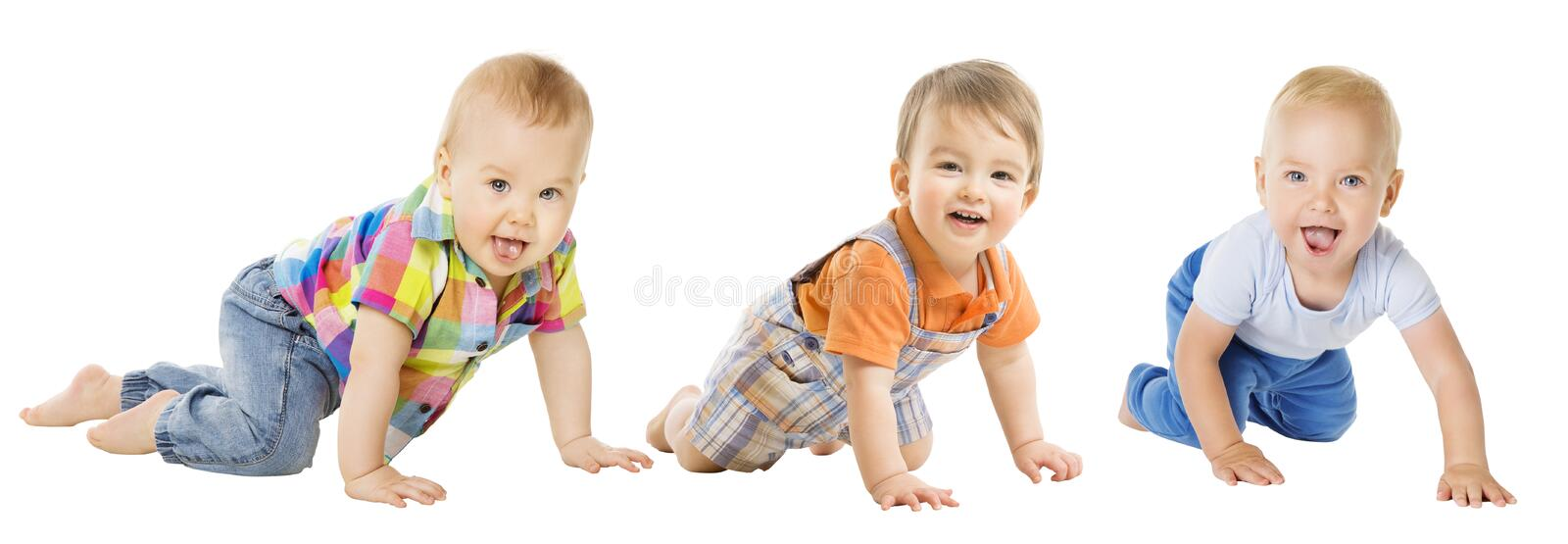 Baby Boys Group, Crawling Infant Kid, Toddler Child Crawl stock image