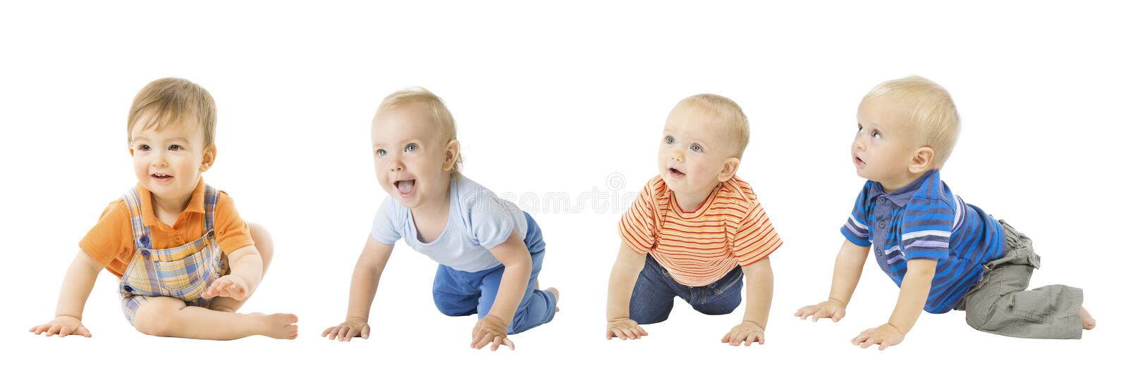 Baby Boys Group, Crawling Infant Kids, Toddler Children Isolated. Over White background royalty free stock photo