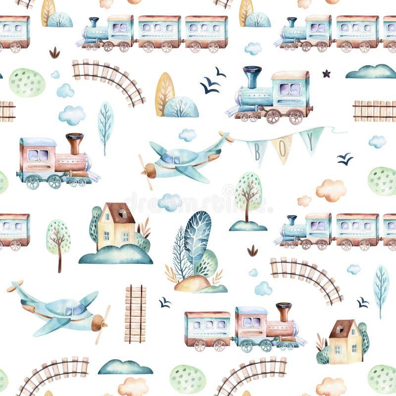 Baby boys world. Cartoon airplane, plane and waggon locomotive watercolor illustration pattern. Child toys birthday vector illustration