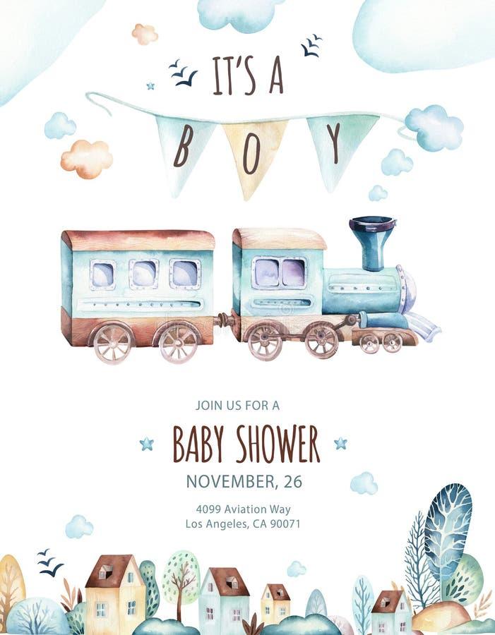Baby boys world. Cartoon airplane and waggon locomotive watercolor illustration. Child birthday set of plane, and air royalty free illustration