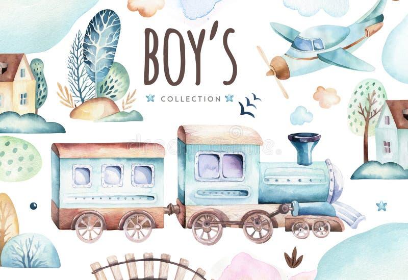Baby boys world. Cartoon airplane and waggon locomotive watercolor illustration. Child birthday set of plane, and air stock illustration