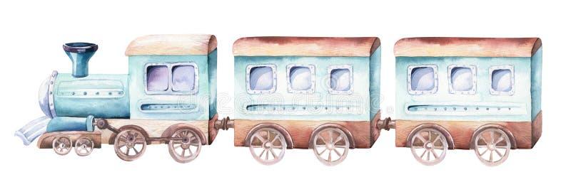 Baby boys world. Cartoon airplane and waggon locomotive watercolor illustration. Child birthday set of plane, and air. Baby boys world. Cartoon airplane and royalty free illustration
