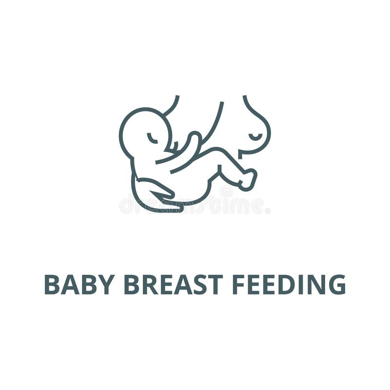 Baby breast feeding line icon, vector. Baby breast feeding outline sign, concept symbol, flat illustration. Baby breast feeding line icon, vector. Baby breast vector illustration