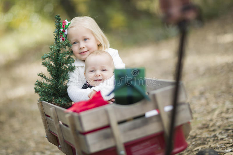 Baby Brother and Sister Pulled in Wagon with Christmas Tree. Baby Brother and Sister Being Pulled in Wagon with Christmas Tree and Gifts Outdoors stock image