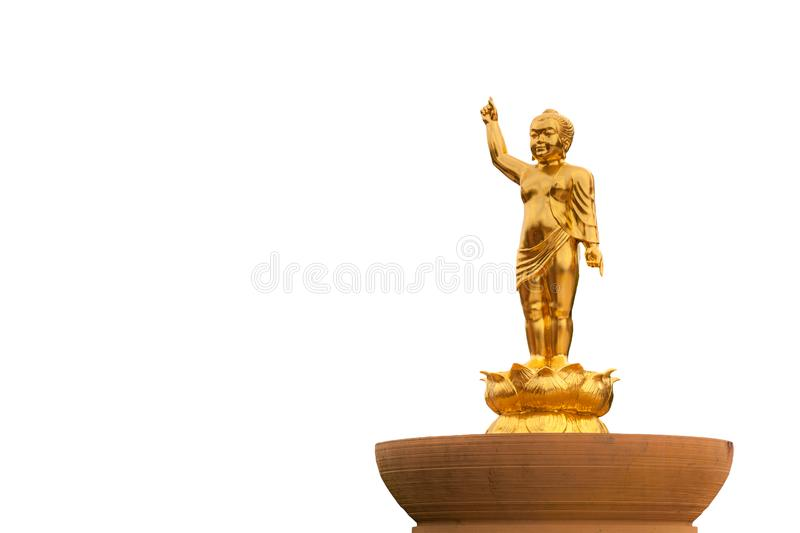 Baby Buddha stand on lotus made from gold metal is symbol or  belief Buddhism stock images