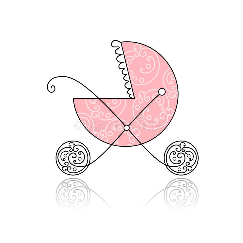 Baby Buggy Pink For Your Design Stock Images