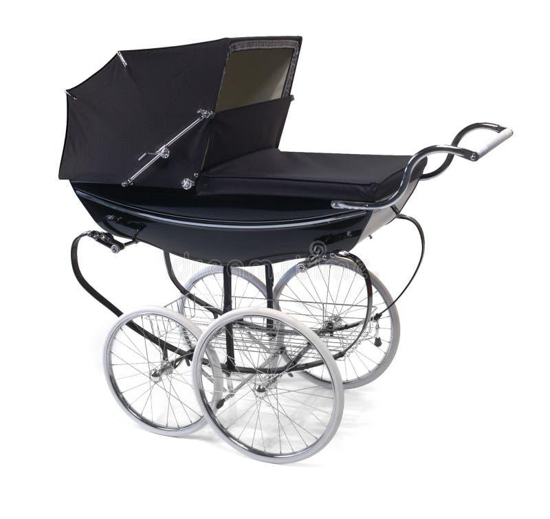 Baby buggy/pram on white. Black baby stroller on white stock images
