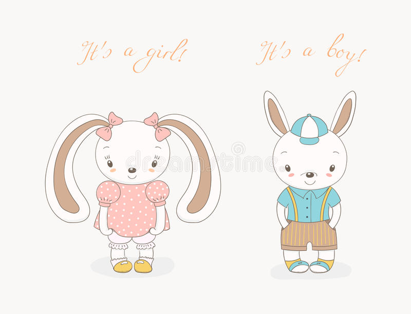 Baby bunnies boy and girl royalty free illustration