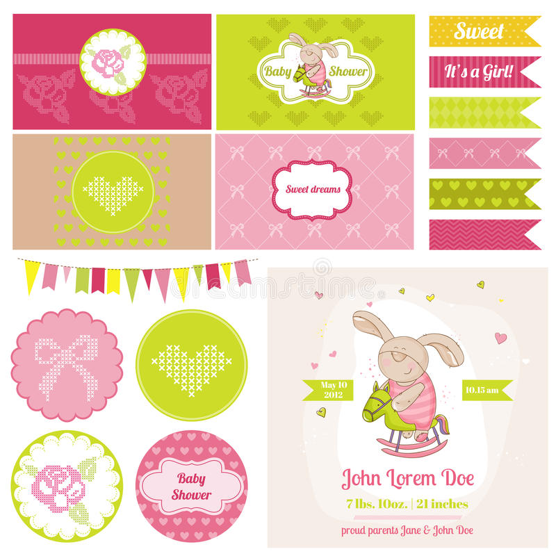 Baby Bunny on a Horse Theme - for Party and Birthday Decoration. Baby Bunny on a Horse Theme- for Party, Birthday Decoration, Scrapbook - in vector royalty free illustration
