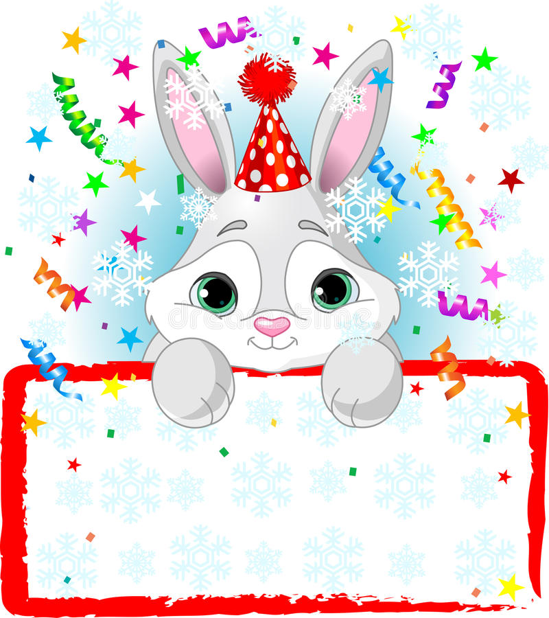 Baby Bunny New Year vector illustration