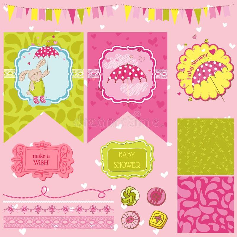 Baby Bunny Shower Theme royalty free illustration