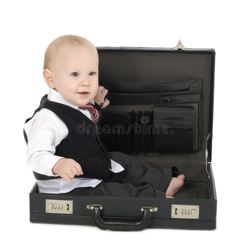 Baby Businessman in Briefcase royalty free stock images