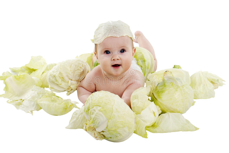 Baby in the cabbage royalty free stock photos