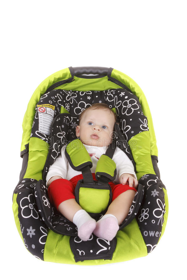 Baby in car seat stock image