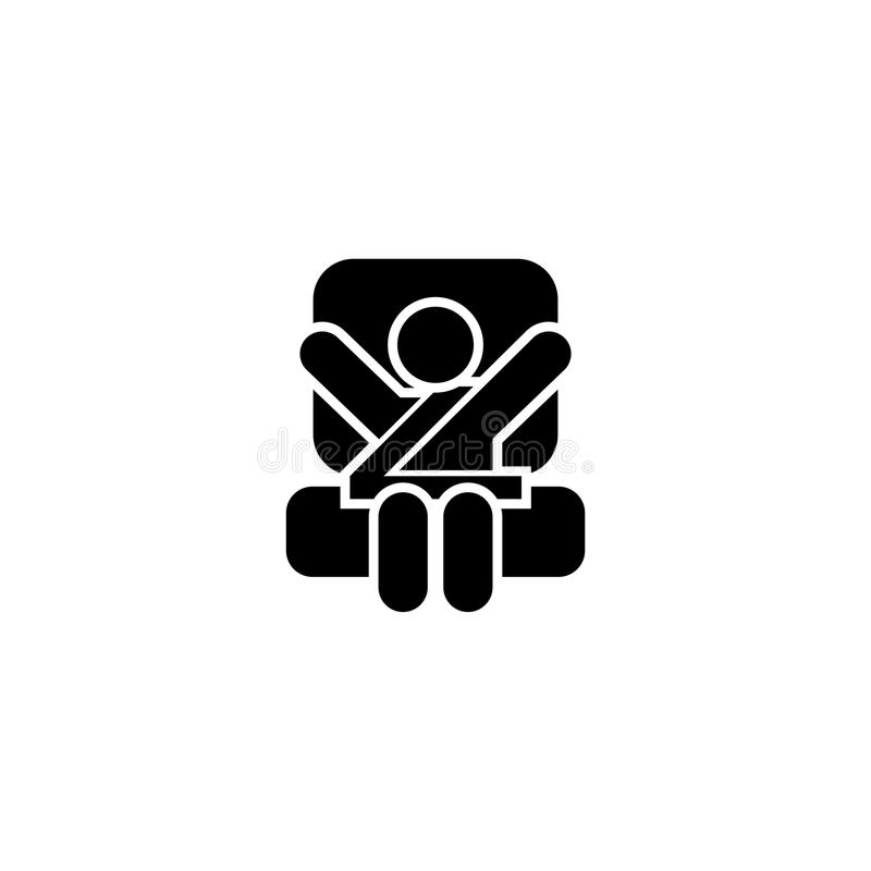 Baby Car Seat Flat Vector Icon stock illustration