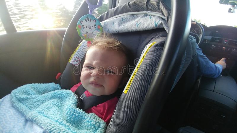 Baby in car seat royalty free stock photo