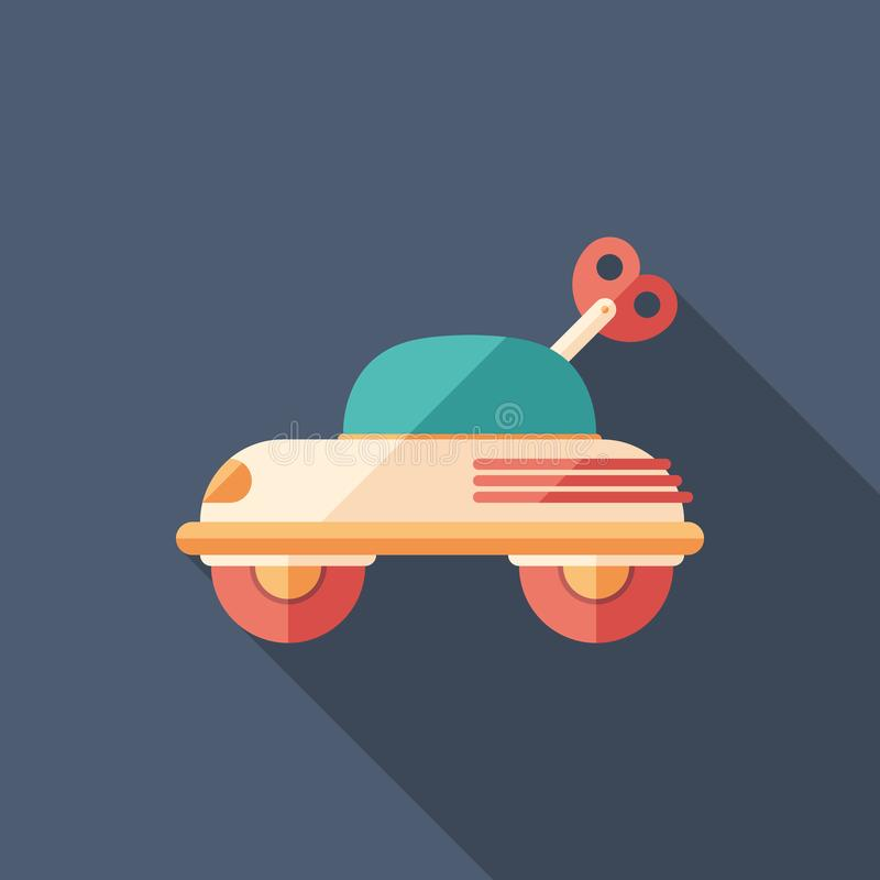 Baby car toy flat square icon with long shadows. vector illustration