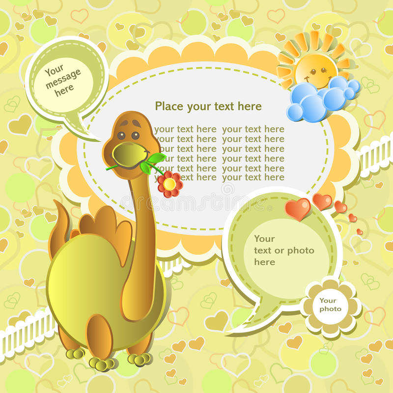 Baby card. With scrapbook elements royalty free illustration