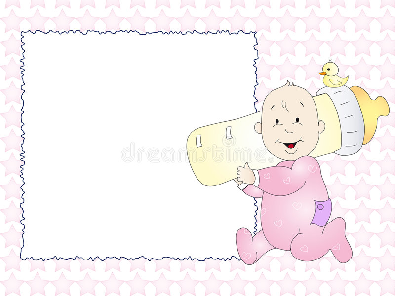 Baby card. Baby girl card for newborn stock illustration