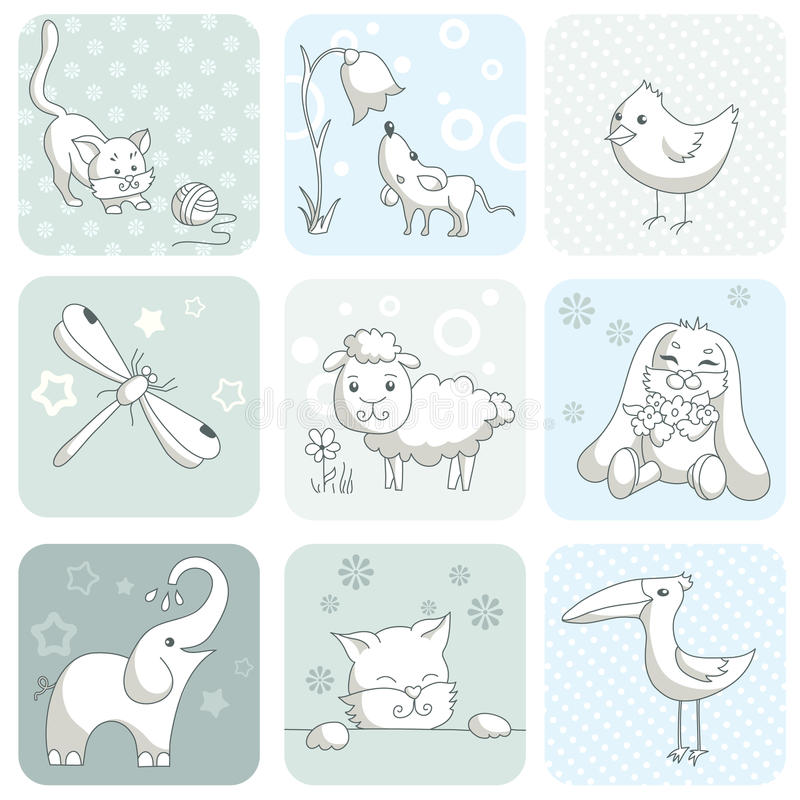 Download Baby card with animals stock vector. Illustration of animal - 23566699