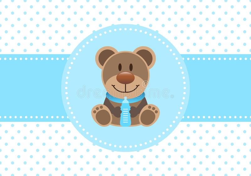 Baby Card Boy Teddy And Bottle Dots Background Blue. Cute Baby Card Boy Teddy And Bottle Dots Background Blue stock illustration