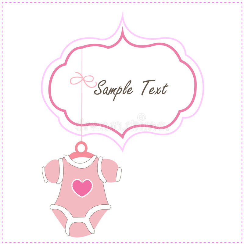 Baby Card Girl Hanging baby baby clothing icons. Pink Baby Girl Card Hanging baby baby clothing icon royalty free illustration