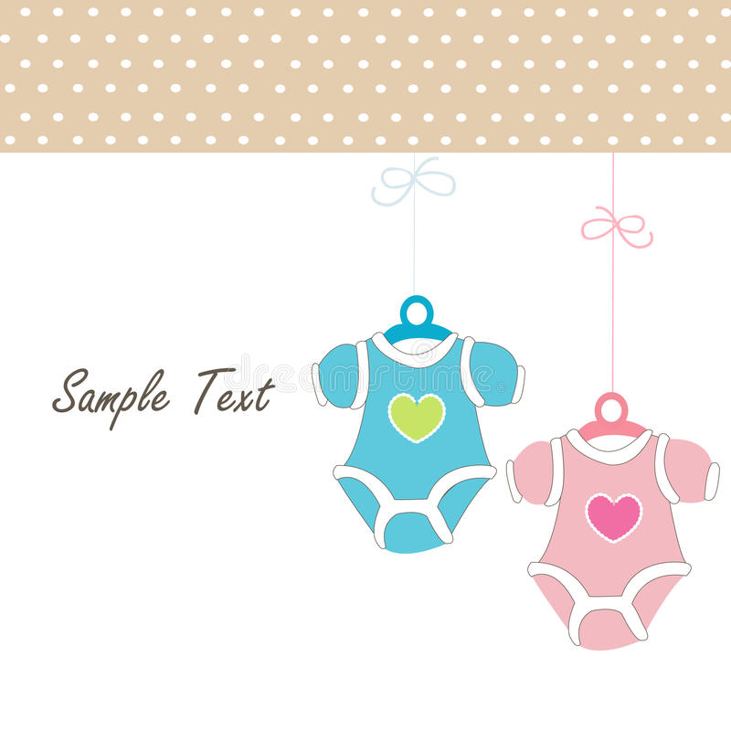 Baby Card Girl Hanging baby baby clothing icons. Pink Baby Girl Card Hanging baby baby clothing icon stock illustration