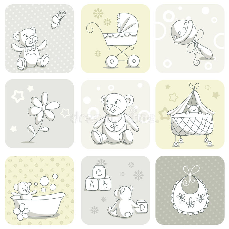 Free Baby Card Set Stock Images - 23566704