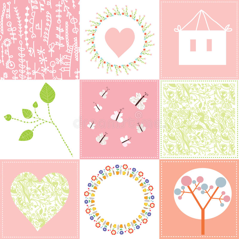 Baby cards set cute design with patterns royalty free illustration