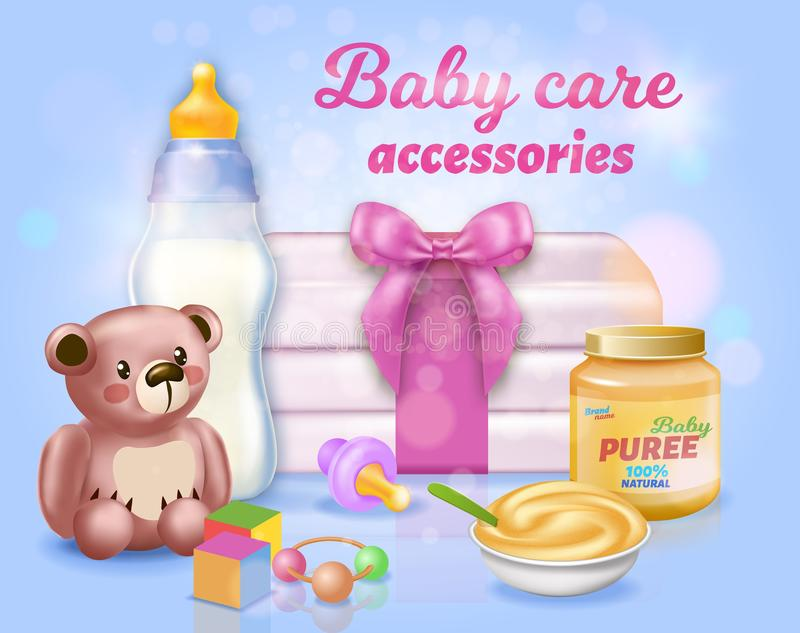 Baby Care Accessories Set on Blue Background,. Wrapped Stack of Diapers, Teddy Bear, Feeding Bottle with Milk, Comforter, Jar with Mashed and Plate with Puree royalty free illustration
