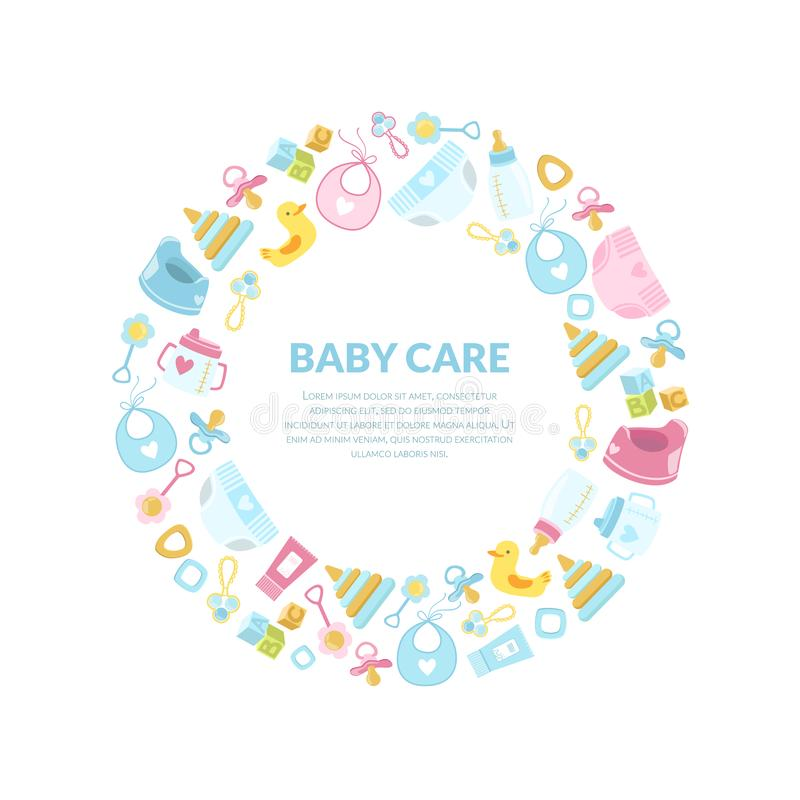Baby Care Banner Template, Round Frame with Newborn Accessories and Place for Text Vector Illustration vector illustration