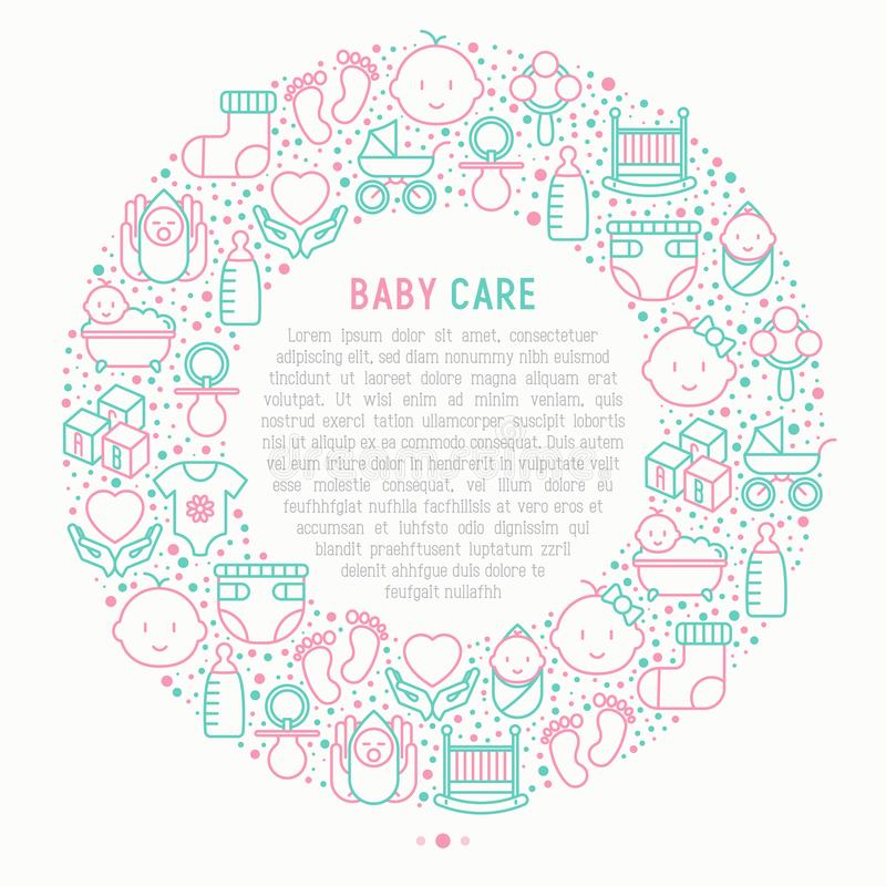 Baby care concept in circle royalty free illustration