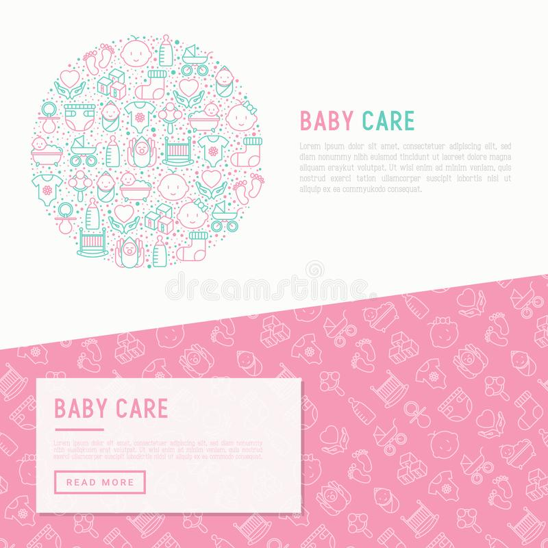 Baby care concept in circle vector illustration