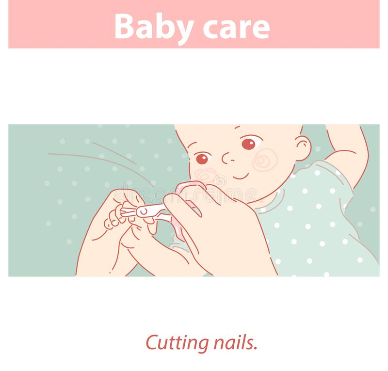 Free Baby Care. Cutting Nails Of Little Child. Stock Photos - 197751073