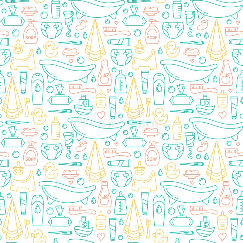 Baby care elements seamless pattern stock illustration