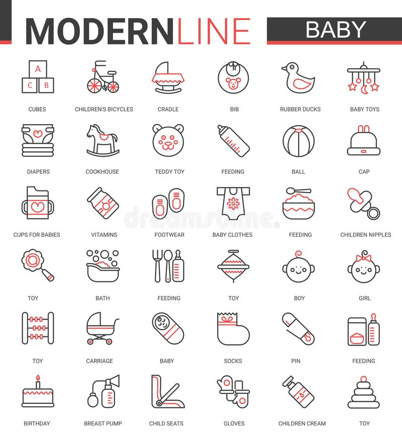 Free Baby Care Flat Web Icon Vector Illustration Set Of Items Symbol For Newborn Infant Child, Baby Accessories, Clothes And Stock Photography - 195284572