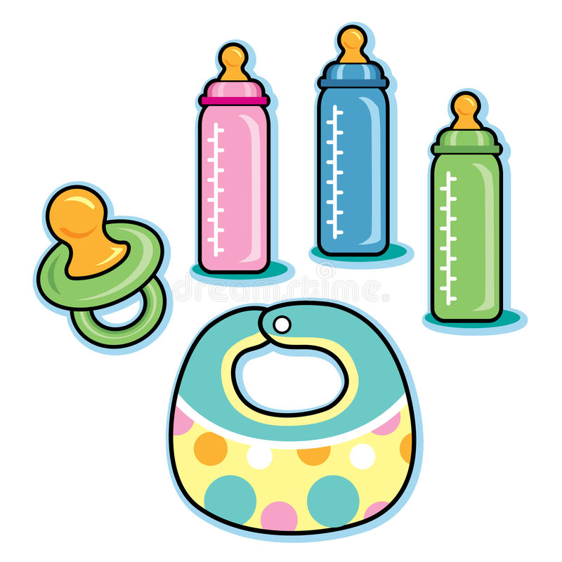 Baby care items including bib pacifier bottles. This is a grouping of baby items including a pacifier, pink, blue, and green milk bottles; and a polka dot royalty free illustration