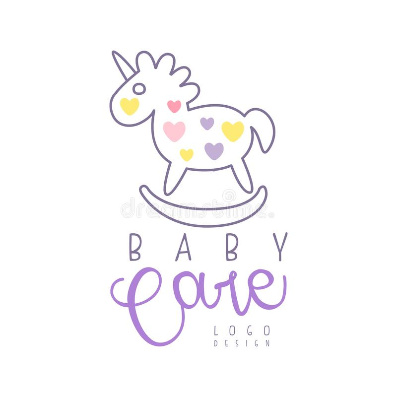 Baby care logo design, emblem with rocking horse toy, label for baby products store, toys shop and any other children. Projects colorful hand drawn vector stock illustration