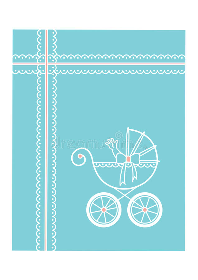 Download Baby carriage stock vector. Image of card, post, comming - 32844121